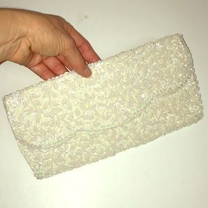 Vintage Beaded Sequins Clutch Purse Small Ivory